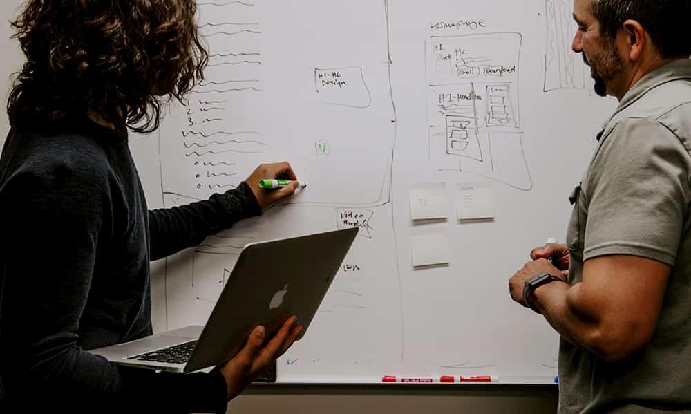 website planing on whiteboard
