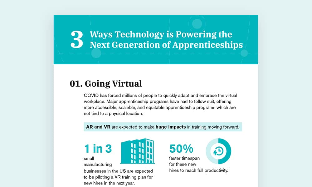 infographic thumbnail for ways tech is powering apprenticeships