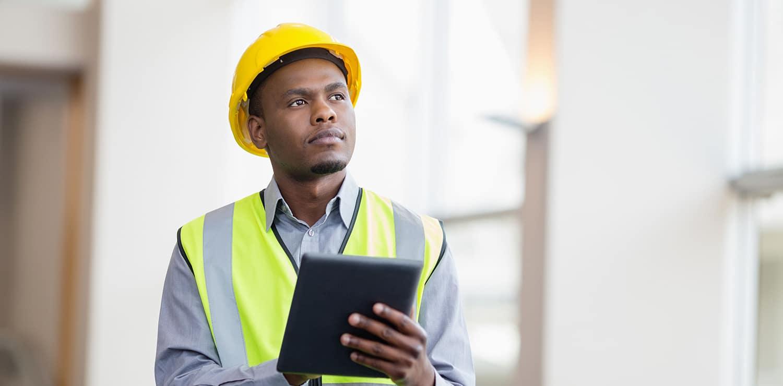 male engineer with ipad