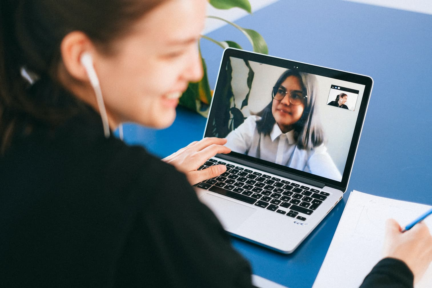 An image of a person on a virtual meeting.
