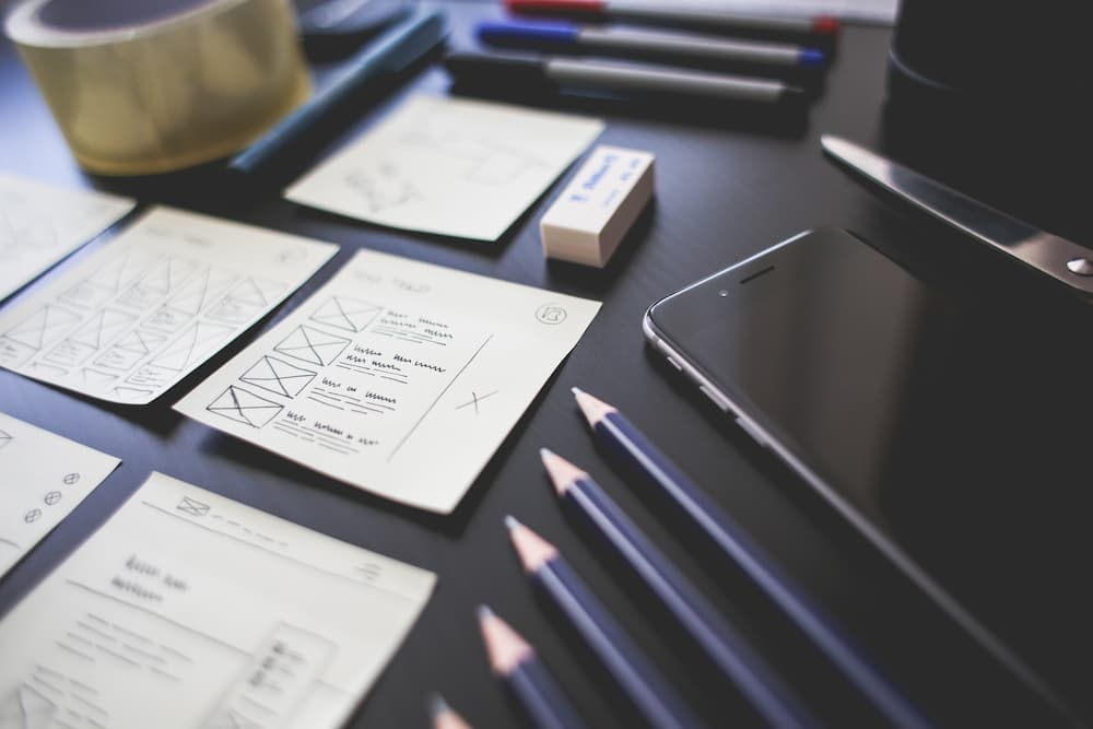 ui and ux sketches for an app